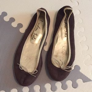 London Sole Dark Brown Suede Flats, Sz 39